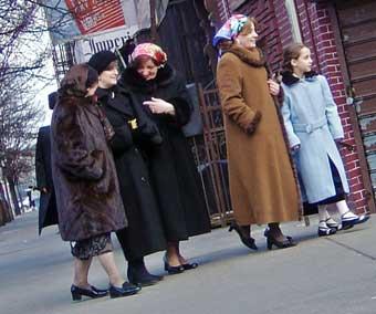 Left Ashke Women Dressed Modestly According To The Jewish Dress Code Right Hidic Jews Strolling On Shabbat In Brooklyn New York Their